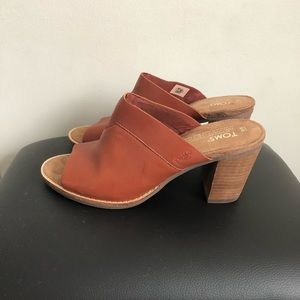 TOMS Brown Leather Mules